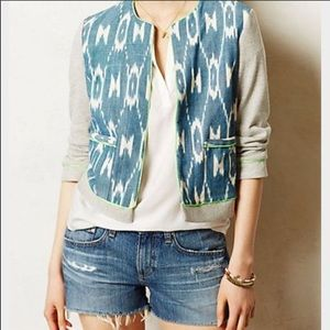 Anthropologie Blazer Ikat Knit Staci Woo Sz Med